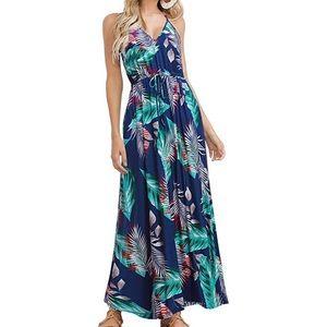 Dresses & Skirts - Boho Tropical Summer Maxi Dress Blue